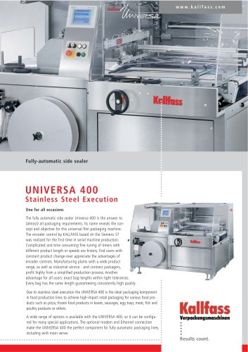 Fully-Automatic Side Sealer UNIVERSA 400 Stainless Steel Execution