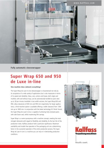 Fully automatic sleevewrapper SUPER WRAP 950 de Luxe In-Line