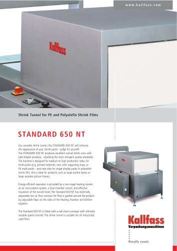 Shrink Tunnel for PE- and Polyolefine film  Standard 650 NT