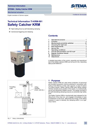 KRM - Safety Catcher mechanical actuation (without hydraulic or pneumatic)