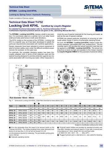 SITEMA Locking unit (certified by Lloyd´s Register)