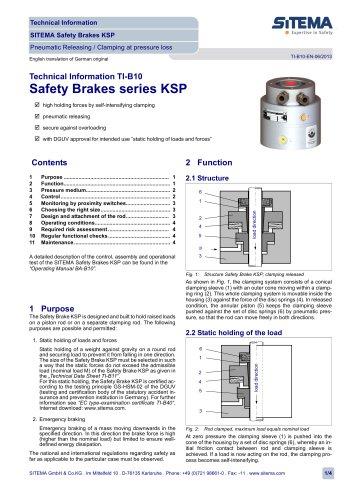 SITEMA Safety Brake general Information TI-B10