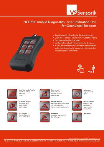 HCU500 mobile Diagnostics- and Calibration Unit for Gearwheel Encoders