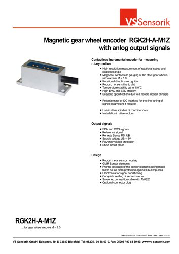 Magnetic gear wheel encoder RGK2H-A-M1Z with anlog output signals