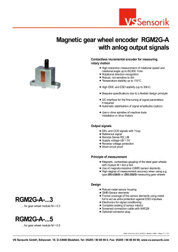 Magnetic gear wheel encoder RGM2G-A with anlog output signals