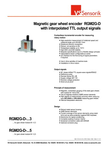 Magnetic gear wheel encoder RGM2G-D with interpolated TTL output signals