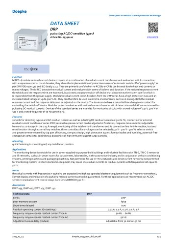 DRP pulsating AC/DC-sensitive type A