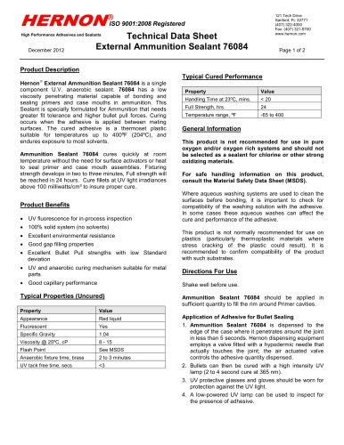 External Ammunition Sealant 76084