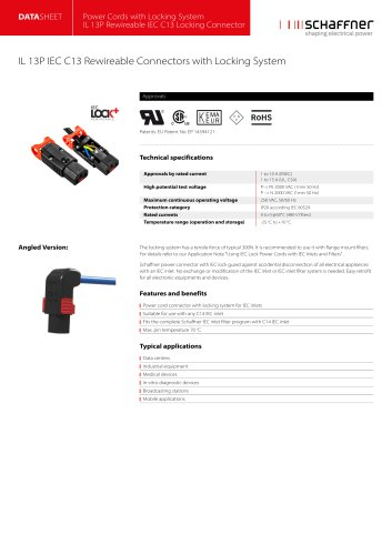 IL 13P IEC C13 Rewireable Connectors with Locking System