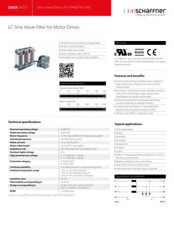 Sine wave filters FN 5040/FN 5045