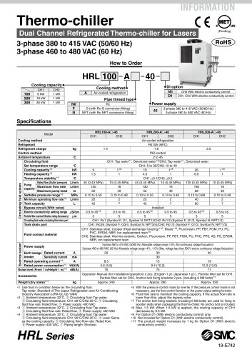 HRL Series - Thermo-chiller Dual Channel Refrigerated Thermo-chiller for Lasers