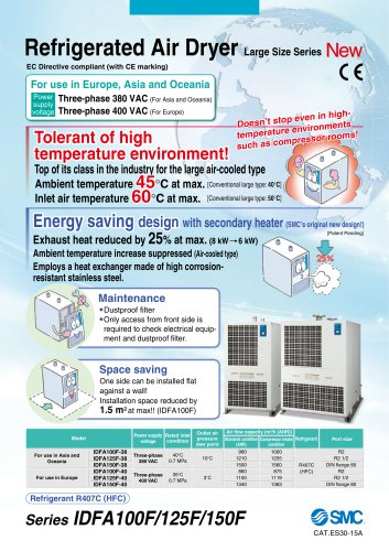 IDFA*F, Refrigerated Air Dryer, Sizes 100~150, Standard Inlet Air Temperature for Use in Europe, Asia, and Oceania