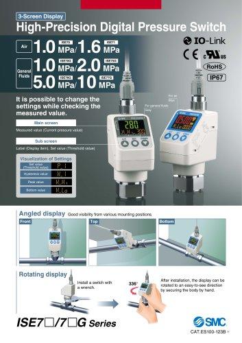 ISE70, Digital Pressure Sensor, 3 Sreen IP67 with IO Link