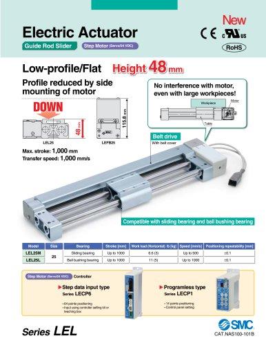 LEL Electric Actuator/Guide Rod Slider, Belt Drive, Step Motor (Servo/24 VDC)