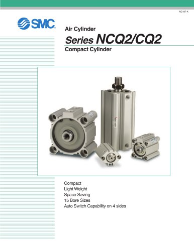 NC(D)Q2W-Z, Compact Cylinder, Double Acting Double Rod w/Auto Switch Mounting Groove