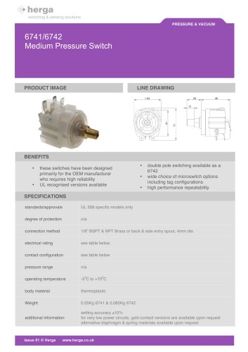 6741/6742 Medium Pressure Switch