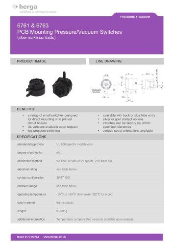 6761 & 6763 PCB Mounting Pressure/Vacuum Switches