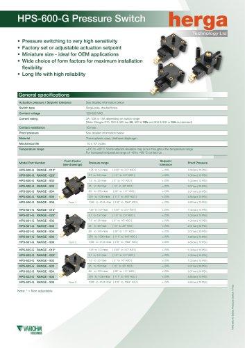 HPS-600-G Pressure Switch