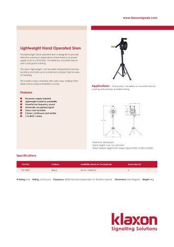 Lightweight Hand Operated Siren