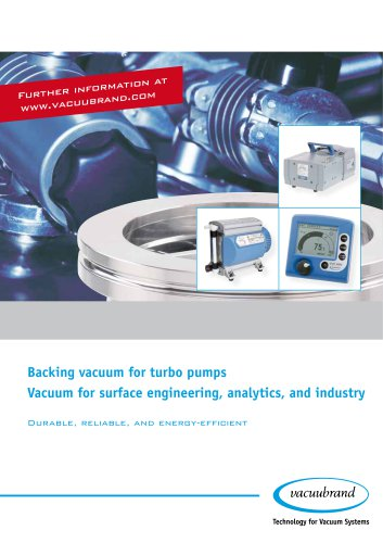Backing vacuum for turbo pumps, Vacuum for surface engineering, analytics, and industry