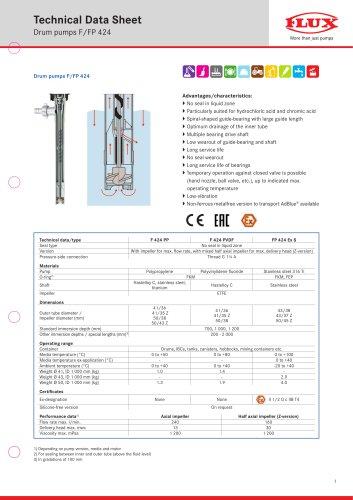 FLUX Drum pump F 424 data sheet