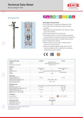 FLUX Drum pump F 426 data sheet