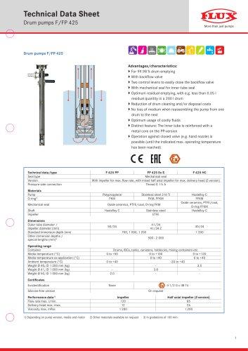 FLUX Drum Pump F/FP 425 data sheet