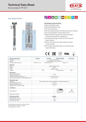 FLUX Drum pump F/FP 427 data sheet