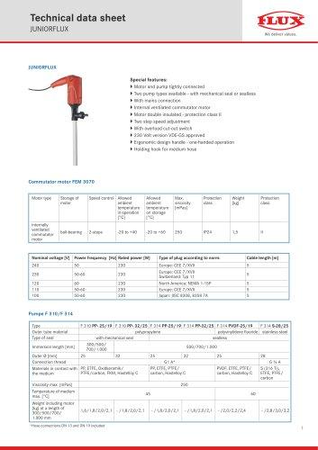 FLUX Drum pump JUNIORFLUX F 310 data sheet