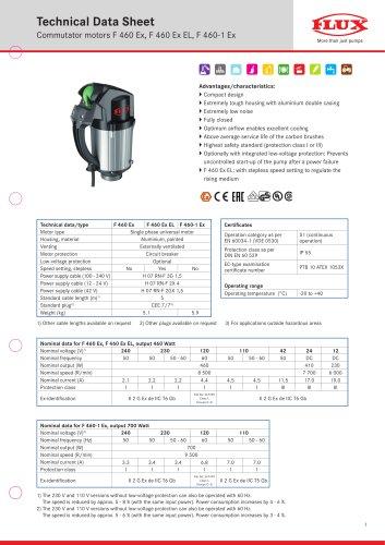 FLUX Motors Commutator motors F 460 Ex, F 460 Ex EL, F 460-1 Ex