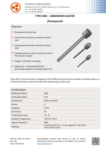 Fonteck IHDC Immersion Heater