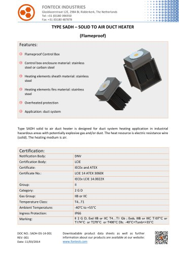 Fonteck SADH Solid to Air Duct Heater