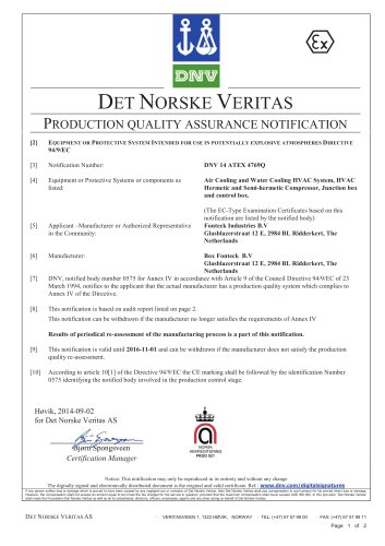 Production Quality Assurance Notification