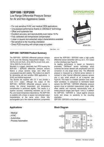 Datasheet Differential Pressure Sensor SDP1000/2000