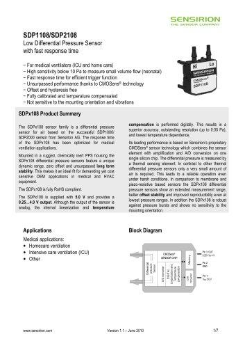 Datasheet Differential Pressure Sensor SDP1108