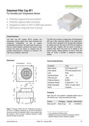 Datasheet Filter Cap SF1 for Humidity Sensors SHT1x