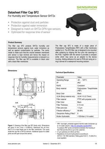 Datasheet Humidity Filter Cap SF2