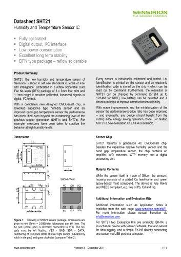 Datasheet Humidity and Temeperature Sensor SHT21
