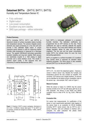 Datasheet Humidity and Temperature Sensors SHT1x (RH&T)