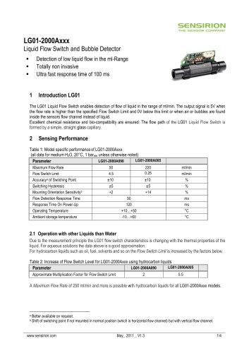 Datasheet Liquid Flow Sensor LG01