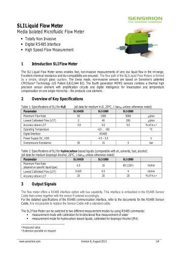 Datasheet Liquid Flow Sensor SLI