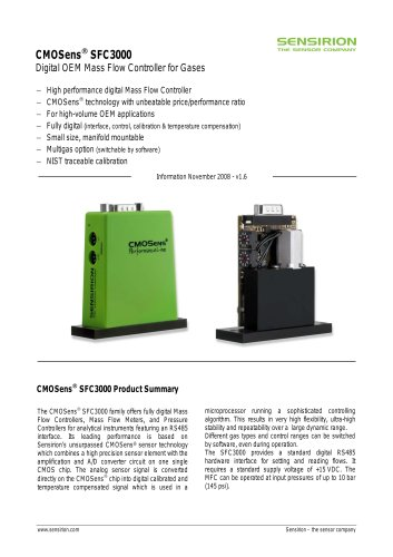 Datasheet Mass Flow Controller SFC3000 for Gases