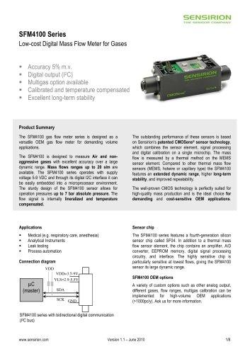 Datasheet mass flow Meter SFM4100