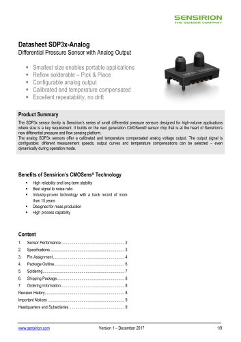 SDP3x-Analog Differential Pressure Sensor with Analog Output