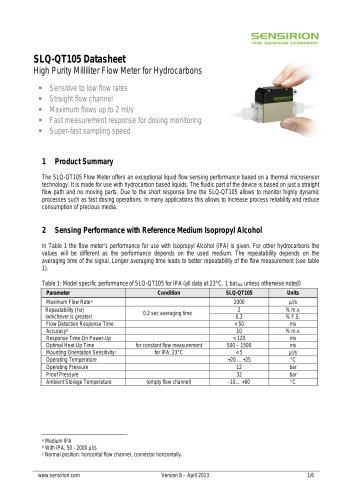 Sensirion Liquid Flow SLQ QT105 Datasheet V8