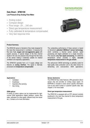 SFM3100 Low Pressure Drop Analog Flow Meter