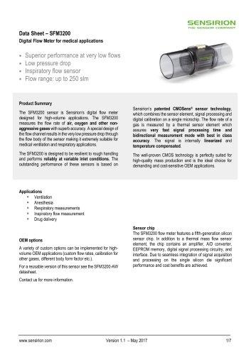 SFM3200 Digital Flow Meter for medical applications