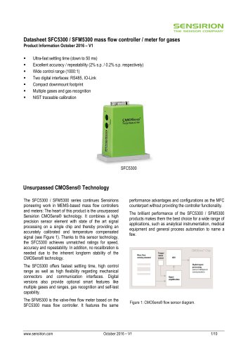 t SFC5300 / SFM5300 mass flow controller / meter for gases