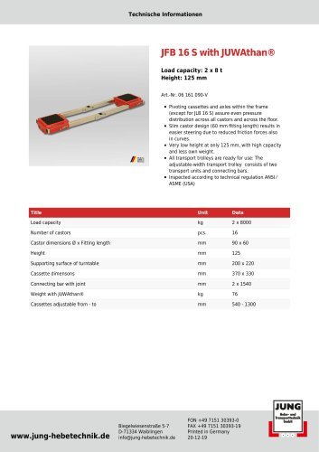 JFB 16 S Product Details