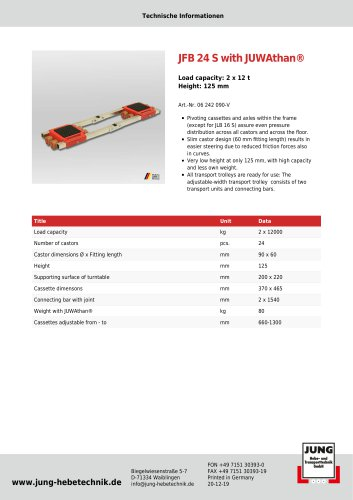 JFB 24 S Product Details